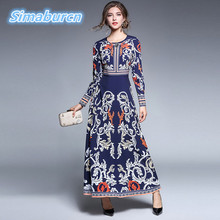 Autumn Winter Women Print Flower Dress 2018 Casual Brand O-Neck Long Sleeve High Quality A-Line Female Dresses Europe Vestidos womens spring off the shoulder dresses 2018 europe and united states brand autumn female print dress casual ladies long dress