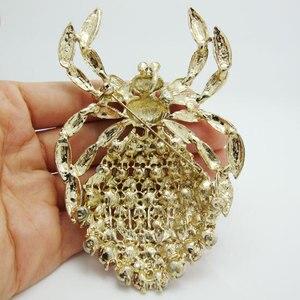 Image 4 - Novo clássico aranha broche luxo roxo strass cristal dourado animal grande broche pino pingente
