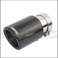 Akrapovic Carbon Fibre Glossy Car Styling Exhaust System Muffler Pipe Tip Crimping Universal Silver Stainless Steel Trim