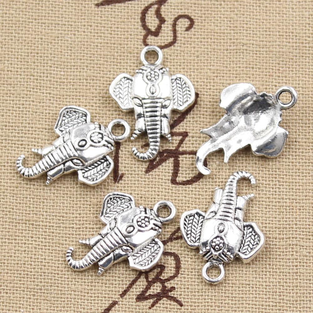 30pcs Tibetan Silver  Elephant Head Mask Charm necklace Pendants 25X21MM