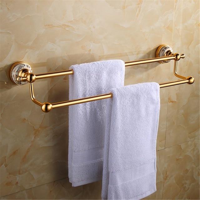 Aluminum Antique Gold Brushed Bathroom Towel Rack Double Layers 59cm ...