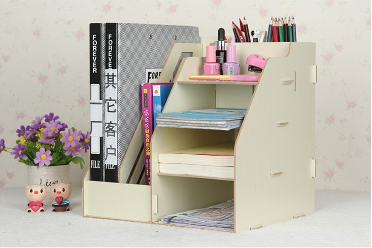 high quality creative candy color office desk organizer wood cabinet diy desktop wooden storage box to storage file documents