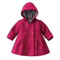 Fashion Baby Girl Toddler Warm Fleece Winter Pea Coat Snow Jacket Suit Clothes Red Pink
