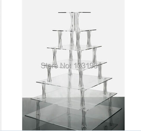 7 Tier Clear Square Shaped Acrylic Cup Cake Stand7 Tier Clear Square Shaped Acrylic Cup Cake Stand