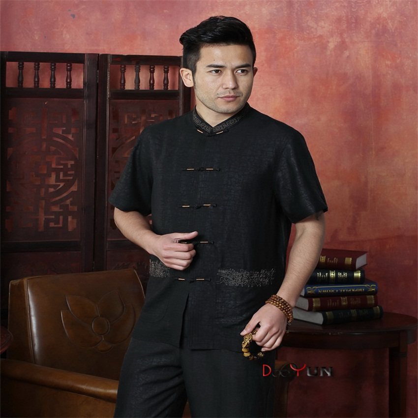 7c124ecfb8d62 Hot Sale New Chinese Traditional Men s Silk Shirt Kung Fu Tops Short-sleeve  Button Free Shipping Size M L XL XXL XXXL 4XL
