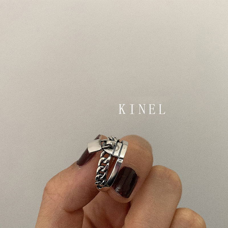 Kinel S925 Sterling Silver Lock Ring Personality Multi-layer Cross Vintage Jewelry Simple Open Ring Best Gift