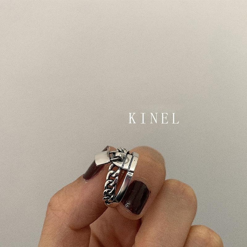 Kinel S925 Серебряное кольцо с замком, индивидуальное многослойное винтажное ювелирное изделие, простое Открытое кольцо, лучший подарок|Кольца|   | АлиЭкспресс