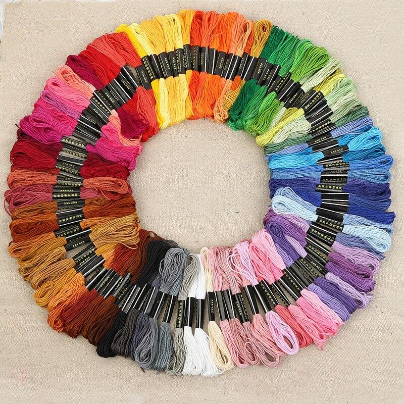 50/100 colores mezclados 8 M Cruz algodón coser Skeins hilo bordado hilo DIY artesanía costura accesorios herramientas