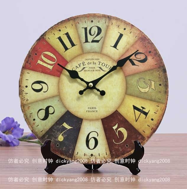 MDF Wooden Wall Clocks France Paris Antiqued Digital Wooden Clock 10 ...