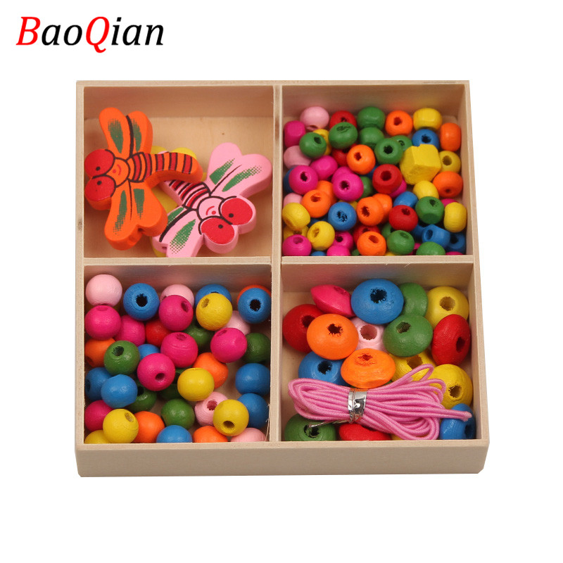 1Box Mix-Style Multicolor Natural Wood Beads For Jewelry Making Fit DIY Children Necklaces Bracelets Handmade Kids Toys Crafts