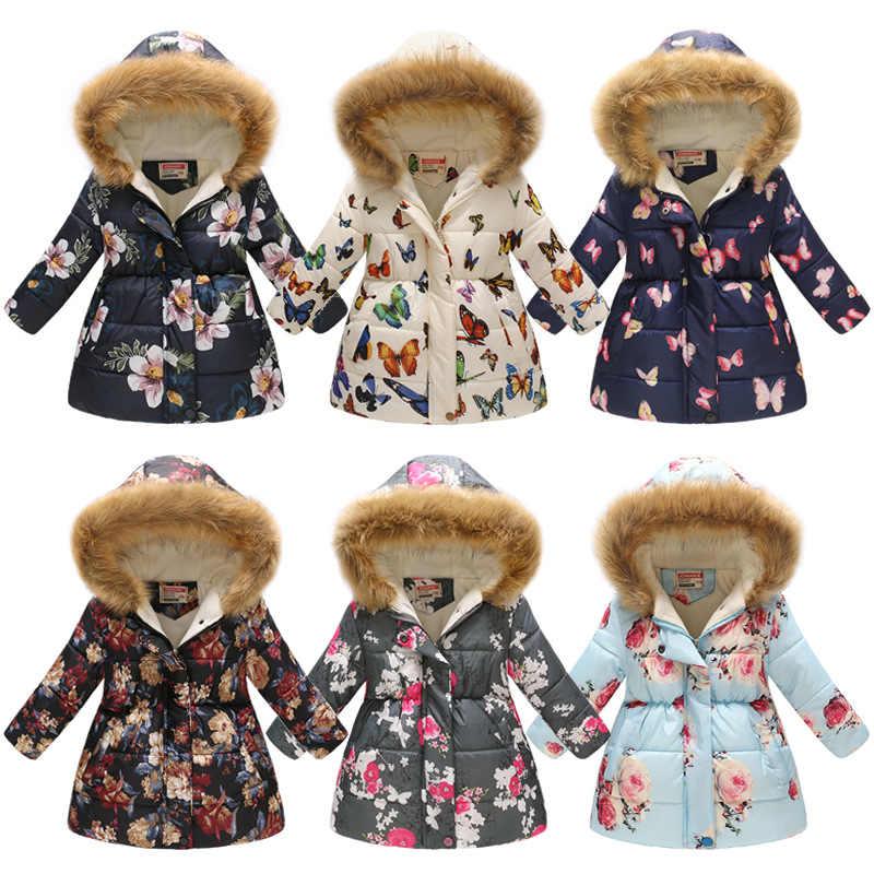 Детское пальто зимние парки с капюшоном детское утепленное пальто с воротником из натурального меха для девочек пальто с принтом теплое пальто зимняя флисовая хлопковая куртка