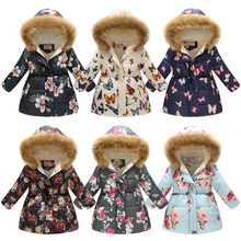 Children Coat Winter Hood Parkas Kids Girls Thickened Real Fur Collar Coat Print Coats Warm Coat Winter Fleece Cotton Jacket(China)