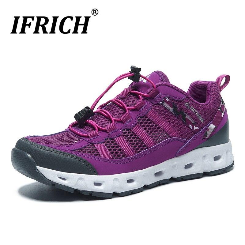 Nouvelles baskets Cool femmes antidérapant en plein air chaussure de montagne maille respirante femmes Trekking randonnée chaussures Ifrich Camping chaussure femme