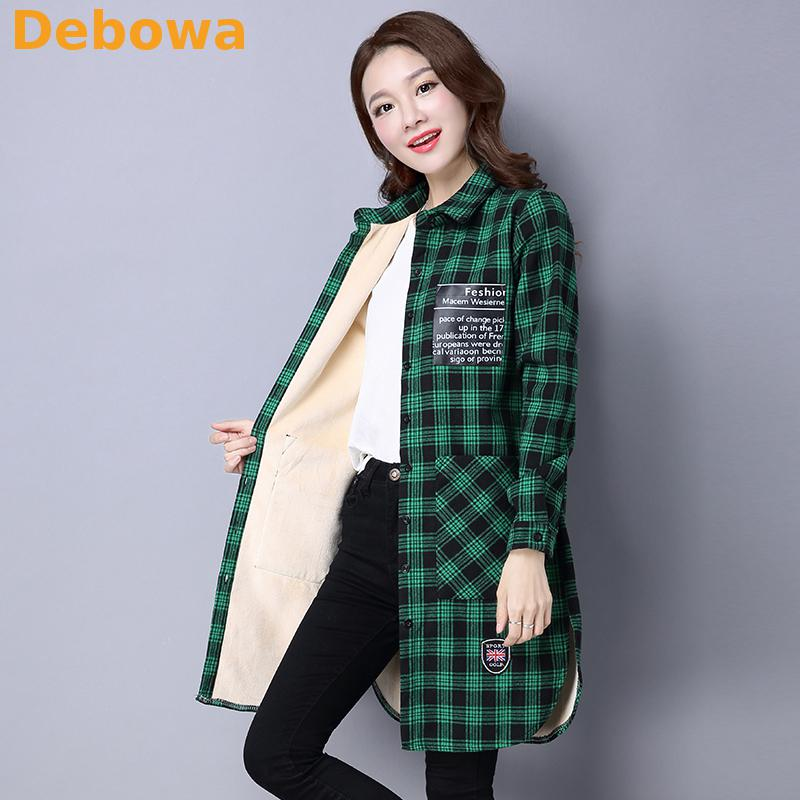 Debowa 2019 Winter Women Plaid Shirt Warm Thicken Plus Size Women Blouse Long Cotton Slim Women Tops