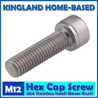 M12 DIN912 Hexagon Socket Head Cap Machine Screws Allen Metric 304 Stainless Steel Bolt HEX Socket
