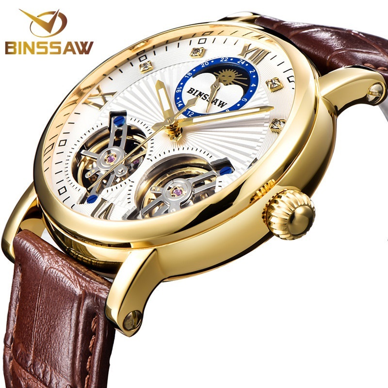 все цены на BINSSAW Mechanical Men Watch Automatic Tourbillon Business Wristwatches Leather Moon Phase Reloj New Watches Montre Homme 2018