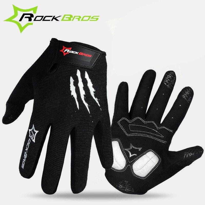 Prix pour RockBros Vélo d'hiver Gants Long Doigt Vtt chaud écran tactile complet doigt gants coupe-vent gants pour hommes accessoires vélo