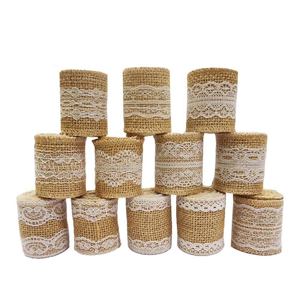 1 M/Pcs 12 Rolos De Juta Hessian Serapilheira Fita Rústico Cânhamo Natural da Fita Do Laço Do Vintage Para Decoração de Casamento DIY Acessórios de Costura