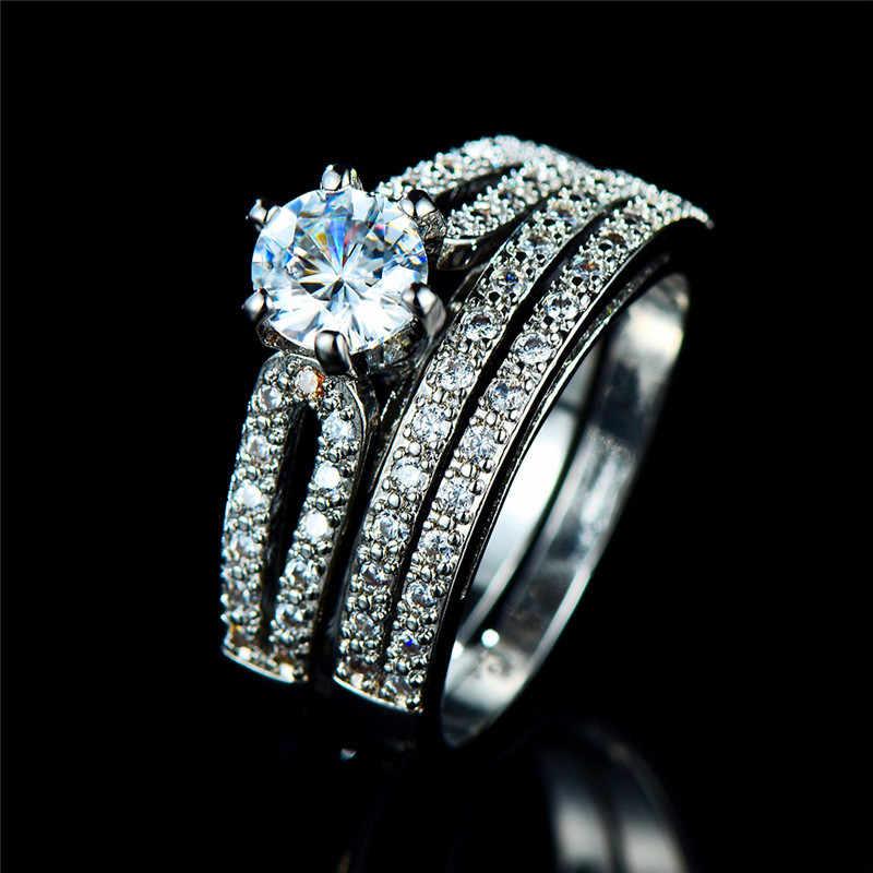 Boho หญิงคริสตัลสีขาวรอบแหวนชุดแบรนด์หรูสัญญา 925 แหวนหมั้นแหวนเงิน Vintage เจ้าสาวงานแต่งงานแหวน