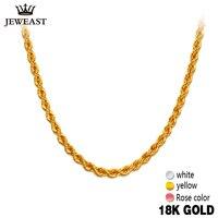 Женское Ожерелье из чистого золота 18 К т, модное и модное, желтое, белое, розовое, женское ожерелье унисекс, Женская цепочка, Свадебная вечери