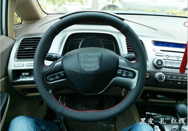 Hand Sewing Black Genuine Leather Steering Wheel Cover For Honda Civic 9 2006 2007 2008