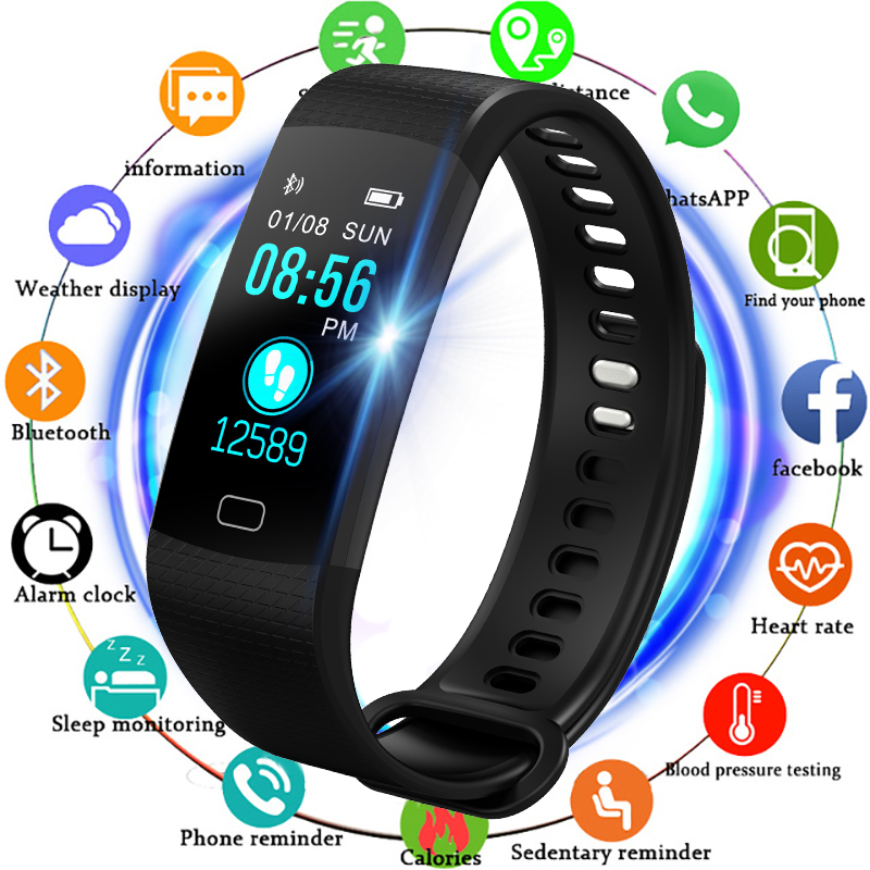 BANGWEI Smart Bracelet Waterproof ECG Real -time Minitor Dynamic Heart Rate Sport Fitness Wristband Support USB-charge Men Watch