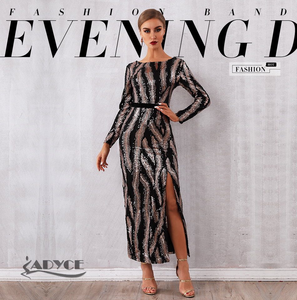 HTB1LTClaIfrK1Rjy1Xdq6yemFXa7 - Adyce New Spring Sequin Celebrity Evening Runway Party Dress Women Vestidos Sexy Backless Maxi Long Sleeve Night Club Dress