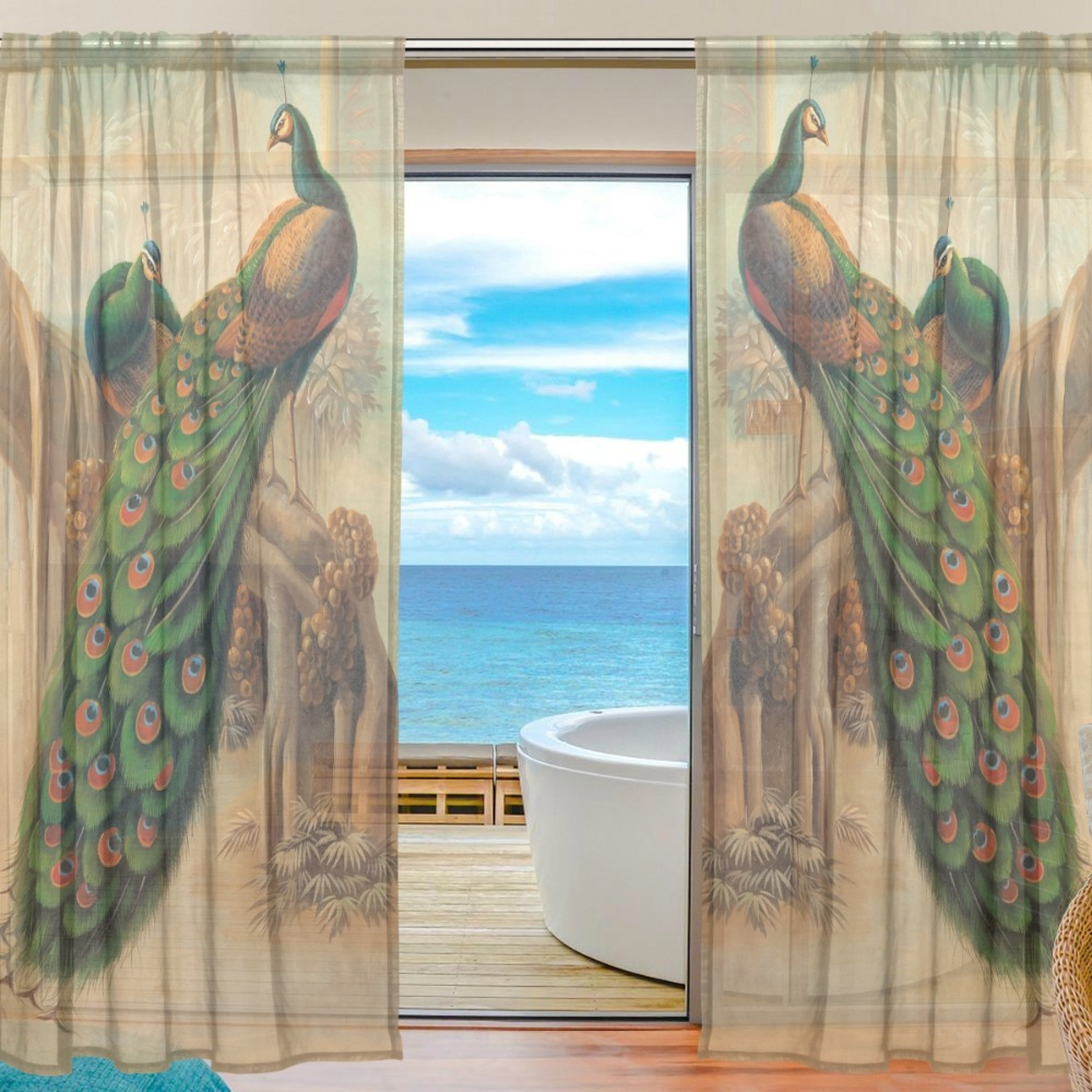 2 Pieces Beautiful Peacock European Modern Sheer Curtains for Bedding Room Living Room Hotel Office Drape Cortinas Tulle Curtain2 Pieces Beautiful Peacock European Modern Sheer Curtains for Bedding Room Living Room Hotel Office Drape Cortinas Tulle Curtain