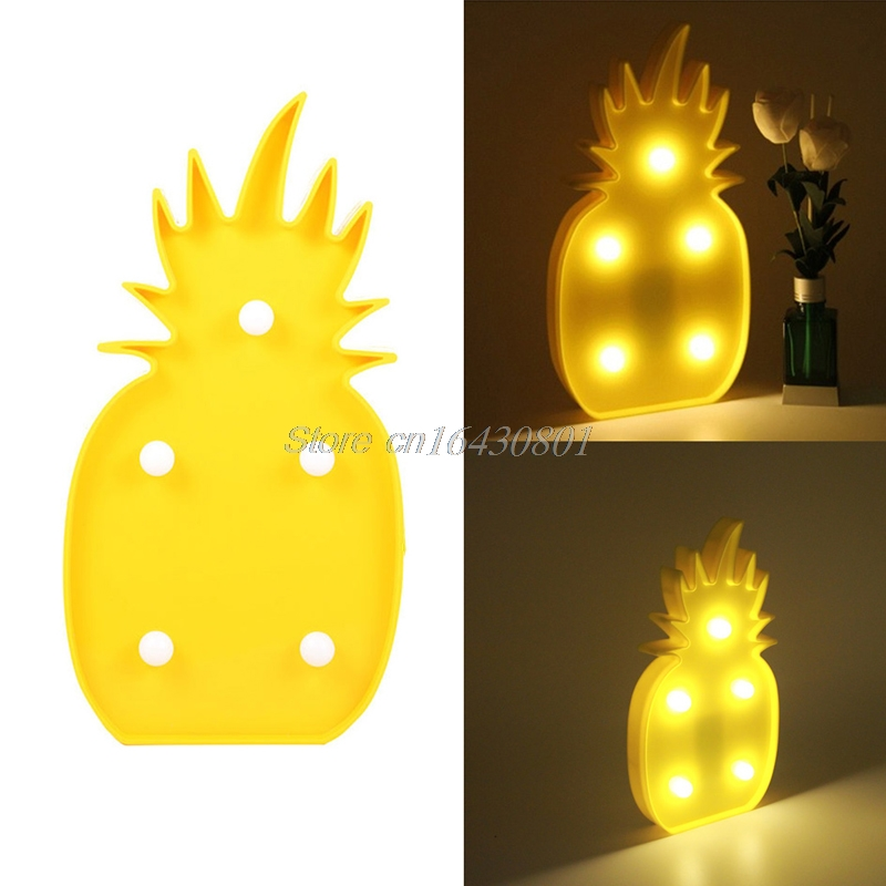 3d marquee pineapple lamp with 5 led battery operated night light warm white k4u3x - Pineapple Lamp