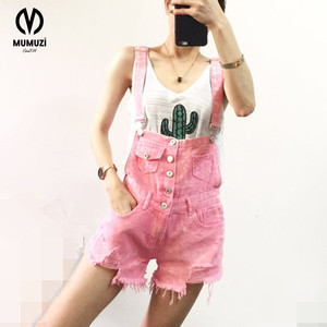 2017 New Fashion summer hot sale girls denim shorts patchwork button Pockets Frayed Ripped Holes Multi color overalls shorts
