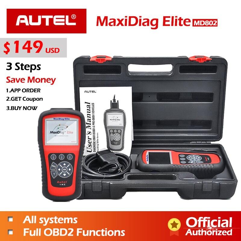 AUTEL MaxiDiag Elite MD802 Tout système + DS modèle De Voiture Scanner Système Complet Diagnostics pour ABS/SRS/Moteur /Transmission/EPB/Huile Enlever