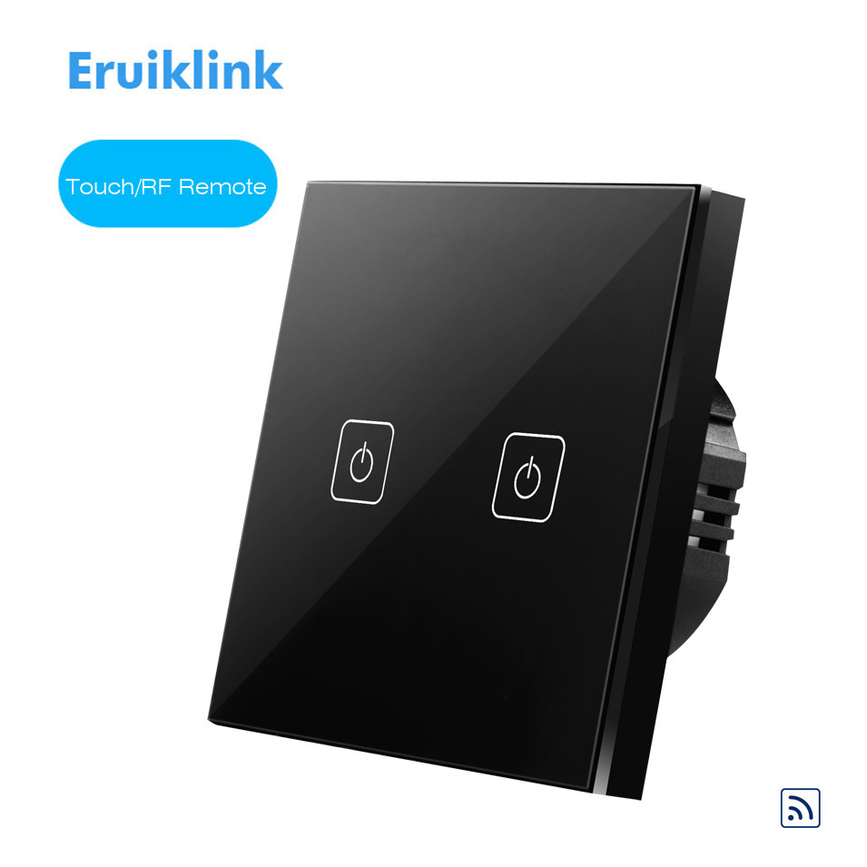 Eruiklink EU Standard Remote Control Switch 2 gang 1 Way, RF433 Smart Wall Switch, Wireless RF Touch Light Switch, White/Black smart home eu touch switch wireless remote control wall touch switch 3 gang 1 way white crystal glass panel waterproof power