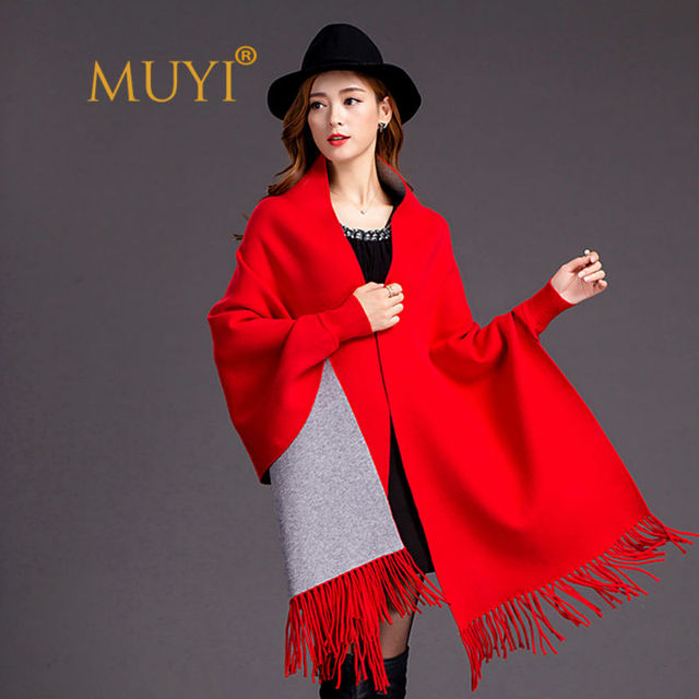 Latest Double Side Dual Purpose Long Sleeve Winter Warm Poncho Blanket Scarf Femme Wrap Pure Cashmere Solid Tassel Pashmina