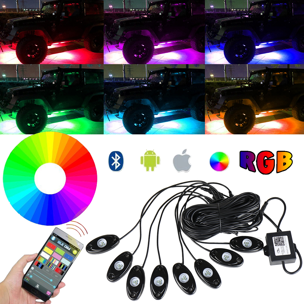 RGB LED Rock Lights Bluetooth Multicolor Neon LED Light Kit with 8 Pods Lights for for Jeep Off Road Truck Car ATV SUV Vehicle