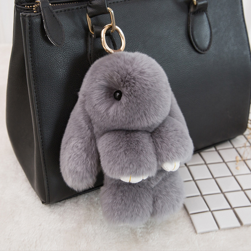 Rabbit Fur Keychain Bunny Rabbit Fur Fashion Pom Pom Keychain Bunny Toy Rabbit Keychain 14 Cm Tote Car Charm Pendant