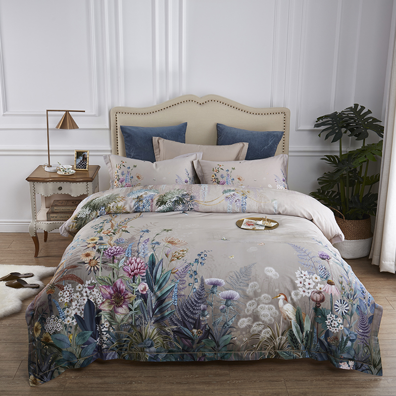 100 Egyptian Cotton Bedding Queen King size 4Pcs Birds and Flowers Leaf Pattern Gray Shabby Duvet