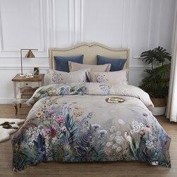 100% постельное белье из египетского хлопка, размер queen King, 4 шт., рисунок с птицами и цветами, серый потрепанный пододеяльник, простыня, наволоч...