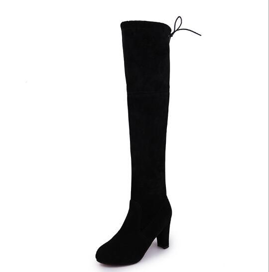 Women Boots High Heels Knee High Boots Suede 8cm Thigh High Over The Knee Red Black Gray Brown Boot Ladies shoes Plus Size 43