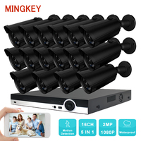 Mingkey 16CH Surveillance System 16pcs 1080P Outdoor Security Camera 16CH CCTV DVR Kit Video Surveillance Easy