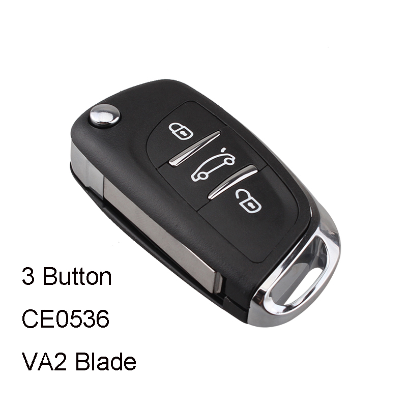 Modified Flip Key Shell Remote Key Case 3 Button for Peugeot 306 407 408 607 for Citroen C4 C2 Car Key CE0536 VA2 Blade(China)