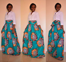 African Dresses Real New Dresses 2017 Skirts Digital Printing Long Skirt The Big Pendulum Show Thin Dress Of Tall Waist Belt