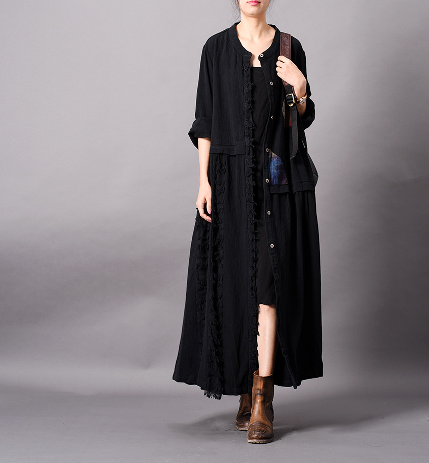 Women Spring Patchwork Ripped Cotton Linen Outerwear Ladies Loose Spliced Trench Coat Thin Overcoat Female Topcoat