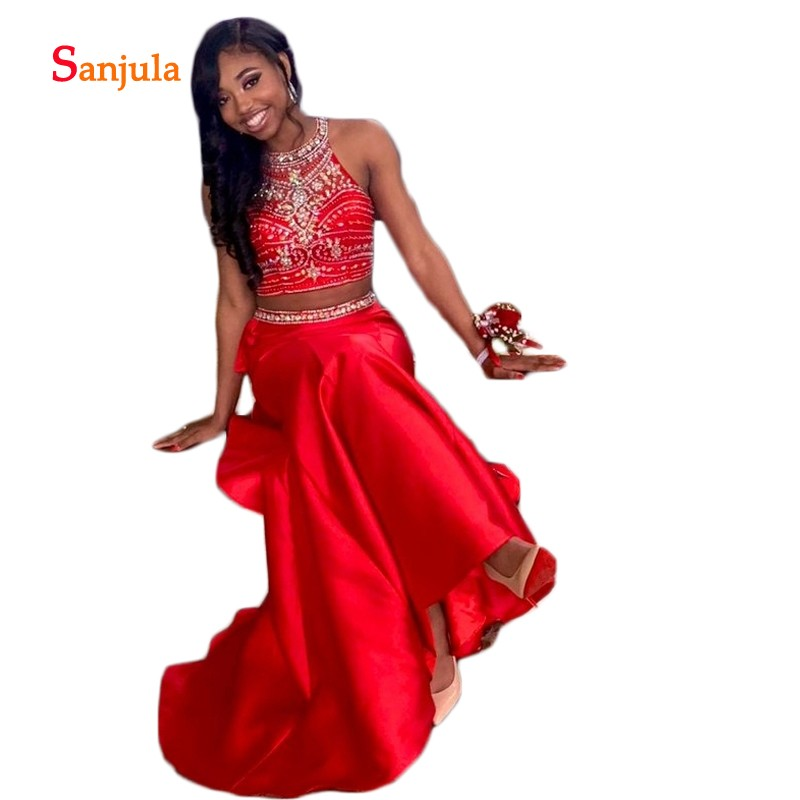 Crop Top Red 2 Piece   Prom     Dresses   Beaded Halter Sheath Skirt   Prom   Gowns Stuning Sequins Girls Graduation Gowns D749