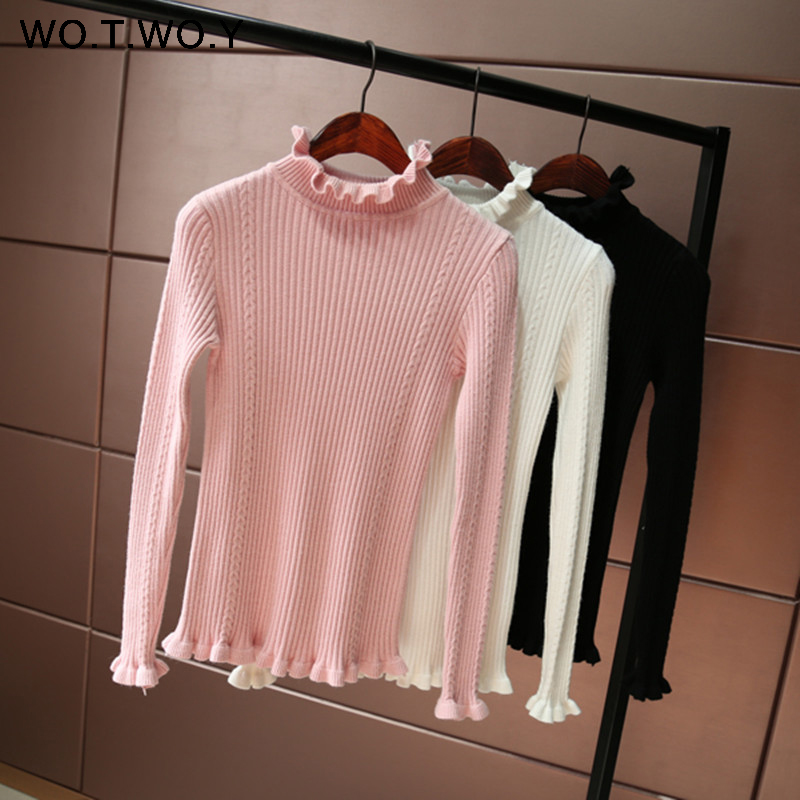 WOTWOY Ruffles Cashmere Sweaters Women Long Sleeve Turtleneck Pullovers Women Autumn Win ...