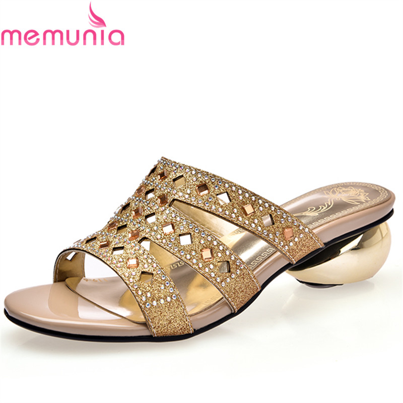 MEMUNIA 2018 new arrive women sandals glitter lady summer shoes med heels comfortable ladies prom shoes big size 34-43 memunia 2017 fashion new arrive women high heels sandals classic peep toe buckle summer shoes solid street style big size 34 43