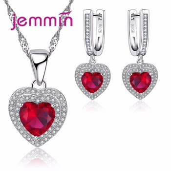 Fine 925 Silver Heart Crystal Wedding Jewelry Sets For Brides Women Rhinestone Statement Necklace Dangle Earrings Set