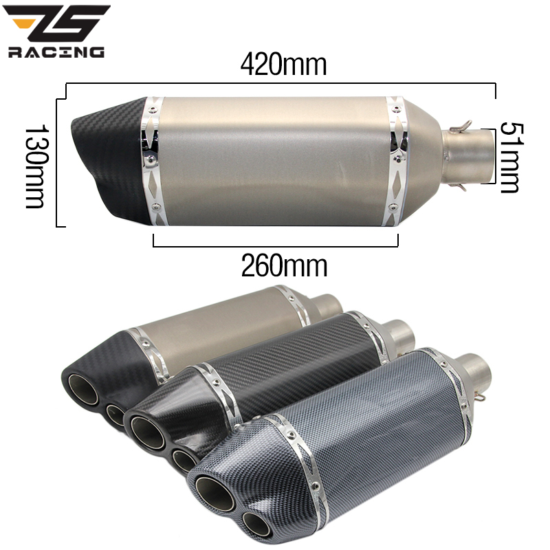ZS-Racing 51mm Motorcycle Scooter ATV Exhaust Muffler Pipe Double-Vented Exhaust CBR CBR125 CBR250 CB400 CB600 YZF FZ400 Z750