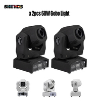 2 Pcs 60w Led Spot Light 7 Gobos Moving Head Light DMX 9/11 Channels Light/Master Slave/Auto Run/Sound Controller Fast Shipping