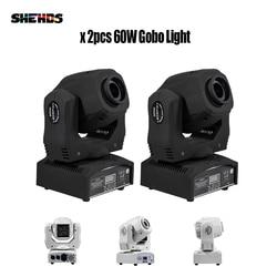 2 stuks 60w Led Spot Licht 7 Gobos Moving Head Licht DMX 9/11 Kanalen Licht/Master-Slave /Auto Run/Geluid Controller Snelle Verzending