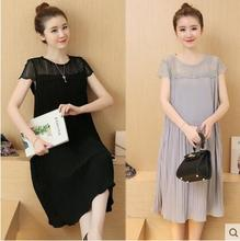 2016 Summer New Korean Chiffon Long Dress Maternity Clothes For Pregnant Women Skirt Hot Short-sleeved Pleated Pregnancy Dresses